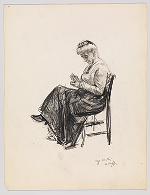 Fig. 4: Edward Hopper (1882–1967), My Mother [Elizabeth Griffiths Smith Hopper (1854–1935], n.d. Black Conte crayon on paper, Sheet: 14-3?16 x 10-7/8 inches. Whitney Museum of American Art, New York; Josephine N. Hopper Bequest (70.906). Digital image © Whitney Museum of American Art © Heirs of Josephine N. Hopper, licensed by the Whitney Museum of American Art, New York.