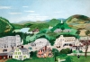 "Anna Mary Robertson (""Grandma"") Moses (1860–1961), Bennington, 1945. Oil on pressed wood, 17-3/4 x 26 inches. Copyright © 2016 Grandma Moses Properties Co, New York. Bennington Museum (1986.310)."