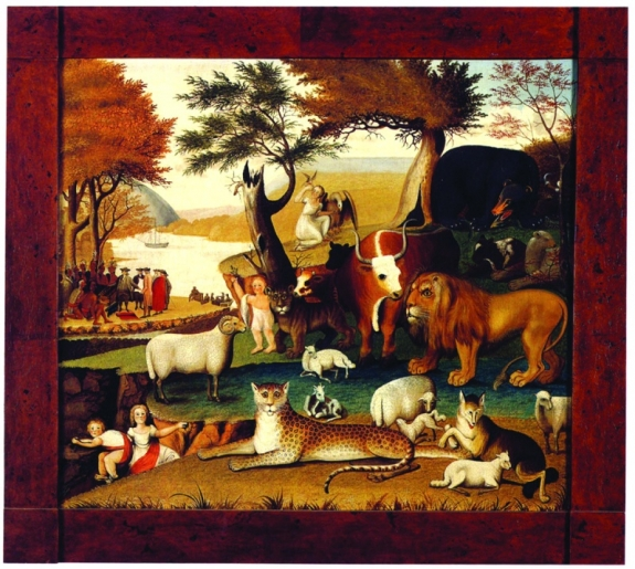 """The Peaceable Kingdom with the Leopard of Serenity,"" by Edward Hicks, a painting from 1846-1848. Ralph O. Esmerian, chairman emeritus of New York's American Folk Art Museum, had to sell the painting when his jewelry business filed for bankruptcy in 2008."