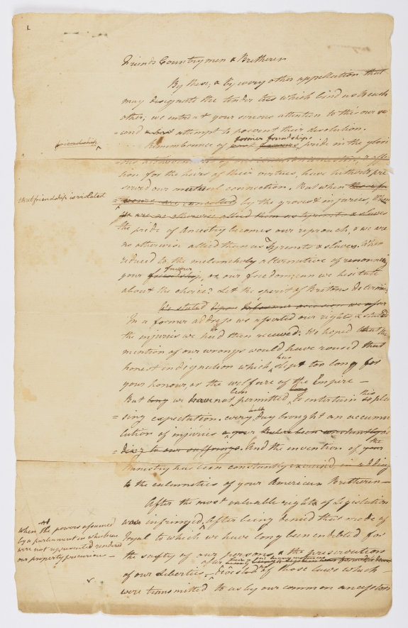 'Letter from the Twelve United States Colonies, by their delegates in Congress to the Inhabitants of Great Britain.'