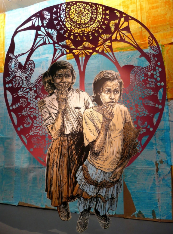 'Indian Girls' by the American Graffiti artist Swoon, is for sale in Dubai priced at 22,000 dollars.