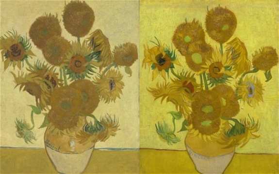 Two versions of Vincent Van Gogh's 'Sunflowers,' 1888.