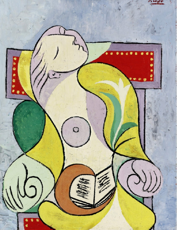 """La Lecture,"" a panel by Pablo Picasso. The work sold at a London auction for 25.2 million pounds ($40.5 million)."