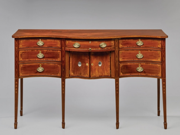 Sideboard, probably Providence, 1803. Mahogany and light and dark wood inlay (primary); cherry, pine, yellow poplar, and chestnut; silver plaques. H. 40-3/8, W. 66-1/8, D. 23-7/8 in. Private collection; photo by Richard House. (RIF1352).