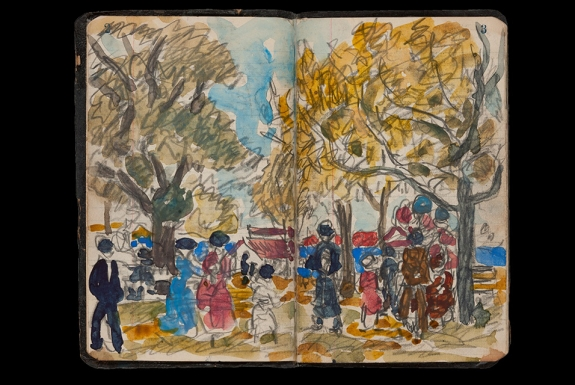 Maurice Prendergast's Sketchbook (pp. 2-3), 1922.