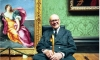 Sir Denis Mahon at the National Gallery in 1999 in front of Guido Reni's The Rape of Europa, a picture he had acquired in a 1945 auction.