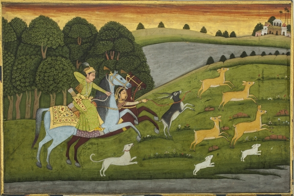 'Baz Bahadur and Rupmati Out Hunting Lucknow,' India, circa 1760.