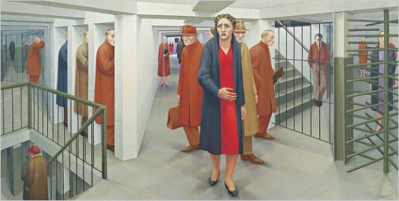 "George Tooker's work expressed a 20th-century brand of anxiety and alienation. Above, ""The Subway"" from 1950."