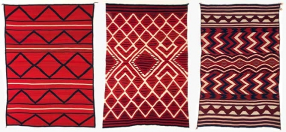 A collection of 19th-century Navajo tapestry weaves.