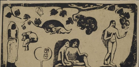 Detail of Paul Gauguin's 'Women, Animals and Foliage (Leaves).'