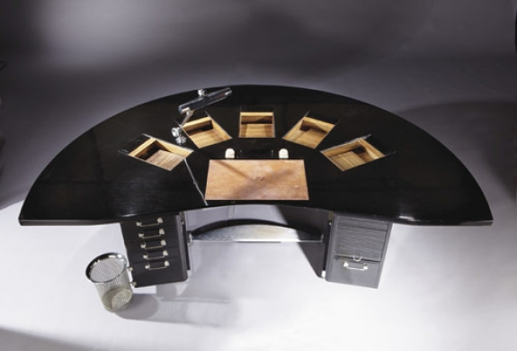 """A black lacquer """"Tardieu"""" desk created by the Art Deco designer Emile-Jacques Ruhlmann sold for 2.3 million euros at Christie's International's three-day Paris auction of the Gourdon Collection of 20th-century design. The desk was estimated to sell for between 2 million euros and 3 million euros."""