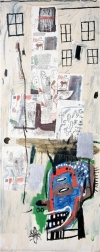 """Overrun"" (1985) by Jean-Michel Basquiat sold for 1.1 million pounds with fees at an evening auction of 29 lots of contemporary art at Phillips de Pury & Co. in London."