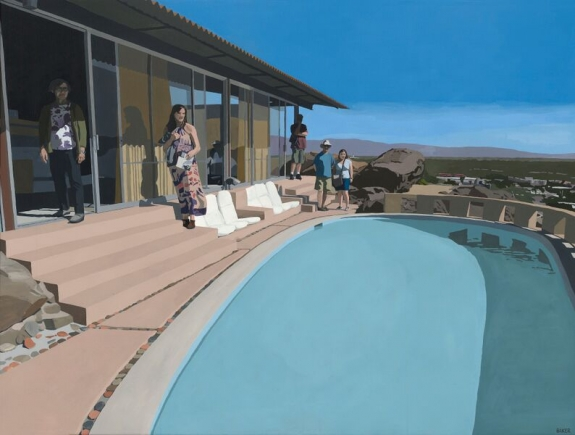 "Richard Baker 'Frey House Tour,' 2015. Oil on canvas. 36"" x 48"""