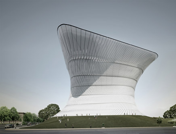 """An architectural rendering of the Soumaya Museum. The Mexico City-based museum, a stretched, twisted aluminum """"cube"""", will house the art collection of Mexican billionaire Carlos Slim."""