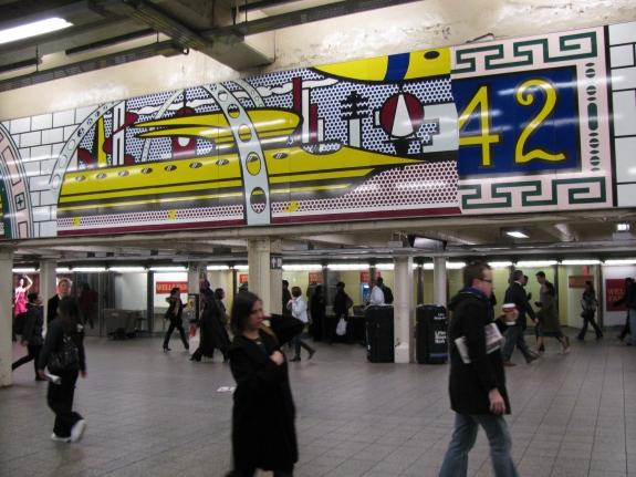 A Roy Lichtenstein mural in Times Square.