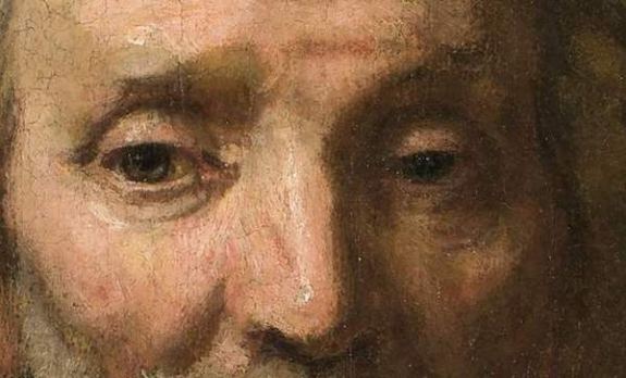 A detail of Rembrandt's 'Portrait of Dirck van Os.""