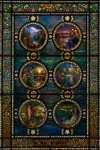 The Tree of Life leaded-glass window, which Tiffany created in 1928–31, when he was living in Miami in a house in the Brickell district.