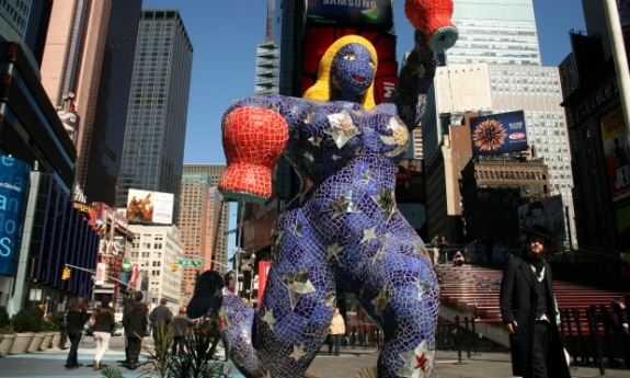 Star Fountain, by late French artist Niki de Saint Phalle, one of the works on display in Times Square this week.
