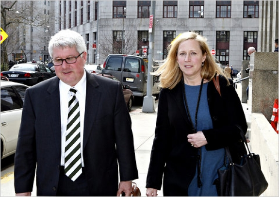 Leigh Morse, right, leaving court with Andrew M. Lankler, her lawyer, on March 18.