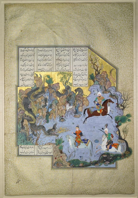 An illustrated page from the 16th-century Persian manuscript, the ``Shahnameh,'' (``Book of Kings''). It was estimated to sell for between 2 million and 3 million pounds at Sotheby's auction of Islamic works from the collection of the late Harvard lecturer Stuart Cary Welch in London on April 6. It sold for 7.4 million pounds with fees.
