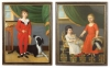 "This extraordinary pair of 18th c. Philadelphia portraits of children with their pets is attributed to Charles Peale Polk (1767 – 1822), and were painted c.1790. The subjects are the children of Matthew and Ruth Hall McConnell, a prominent merchant and landowner, as can be seen by the fine furnishings in their home. Among his many achievements, Matthew McConnell, a veteran of the American Revolution, was a member of the first board of directors of the Insurance Company of North America; a founding member of the Philadelphia Board of Brokers, the predecessor organization of the Philadelphia Stock Exchange; an original member of the Hibernia Society of Philadelphia; and served the Cincinnati. He was a good friend of Robert Morris and served as one of the auditors of his estate. The paintings descended in the family along with another painting by Polk, George Washington At Princeton, which later was given to the CIGNA Museum and Art Collection along with a portrait of Matthew McConnell by Thomas Sully. Extensive family history and documentation accompany the paintings. Oil on Canvas,  52"" x 40"";  50 1⁄2"" x 40"". In what appear to be the original carved and gilded 18th c. frames."