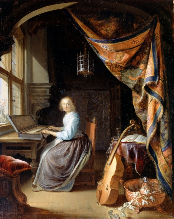 A Woman Playing a Clavichord by Dou Gerrit.