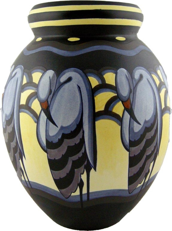 Boch Freres Keramis vase, circa 1930. Signed by Charles Catteau, 13.5 inches tall.