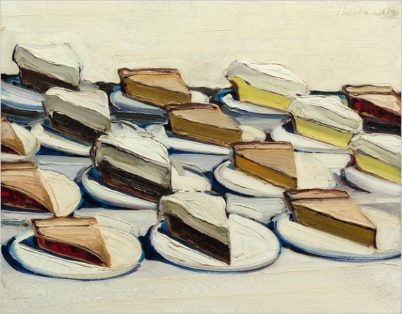 """Pies,"" a 1961 painting by Wayne Thiebaud, is part of the second of two auctions of works from the estate of Allan Stone."