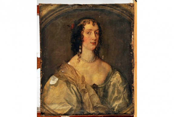 Anthony van Dyck's 'Portrait of Olive Boteler Porter' before restoration.