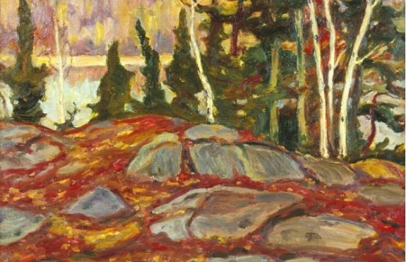 Several paintings by the Group of Seven — including art by A.Y. Jackson, whose canvas 'Canoe Lake' is pictured above — were stolen from a Toronto gallery on the weekend.