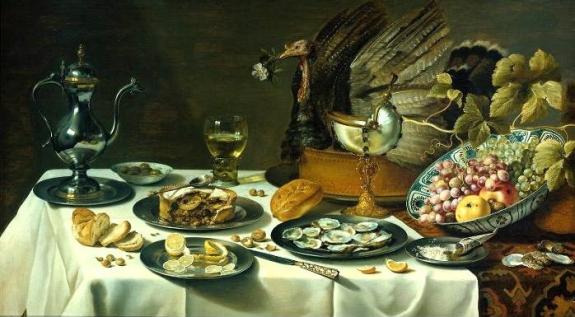 Pieter Claesz's 'Still Life with Peacock Pie,' 1627.